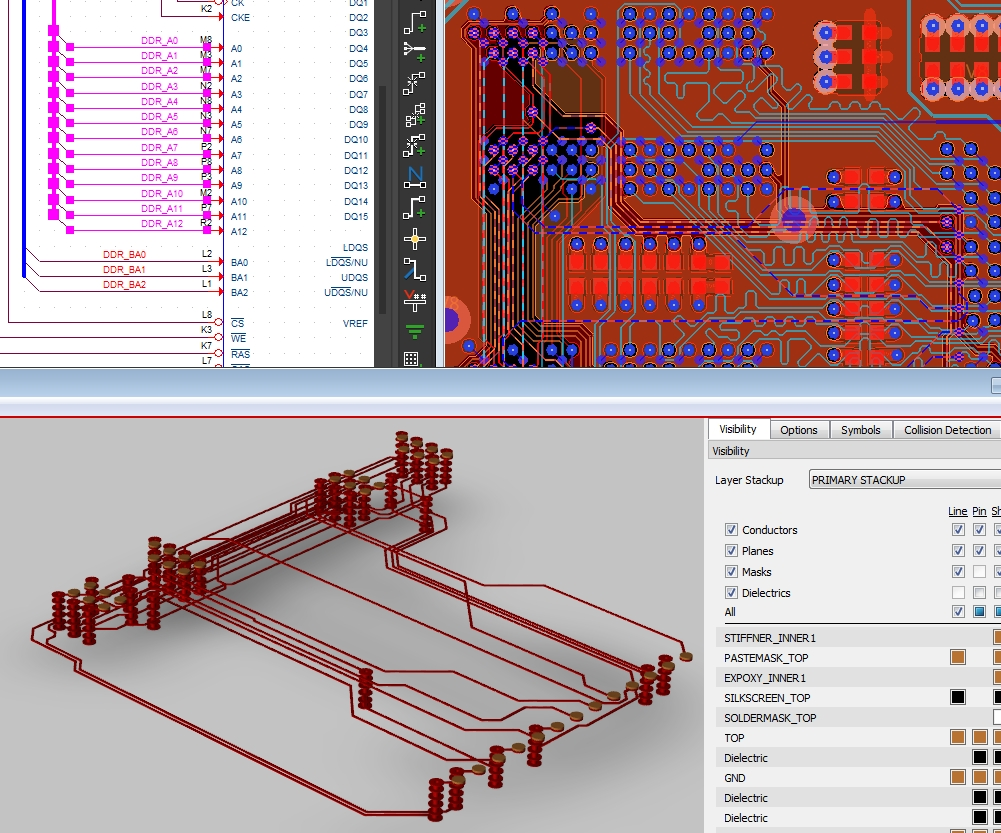 Screenshot of OrCAD PCB Designer's cross-probing from schematic to 3D layout