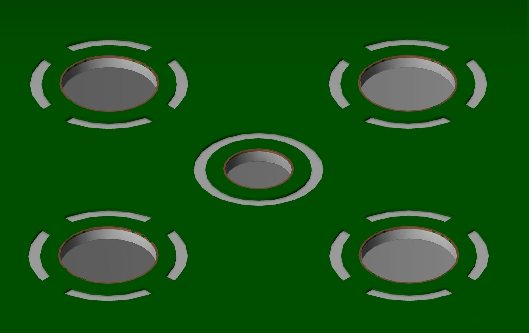 Screenshot of thru-hole thermal relief pads in Allegro's 3D layout