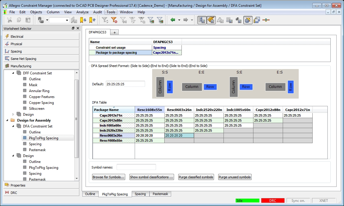 Screenshot of OrCAD's DFA constraint menu