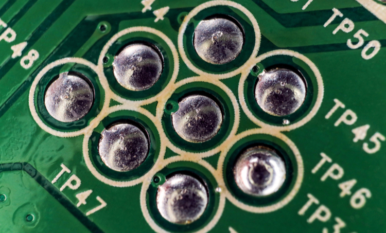 Solder joints on a PCB