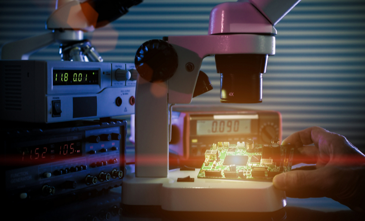 Controlled electronics testing in a laboratory