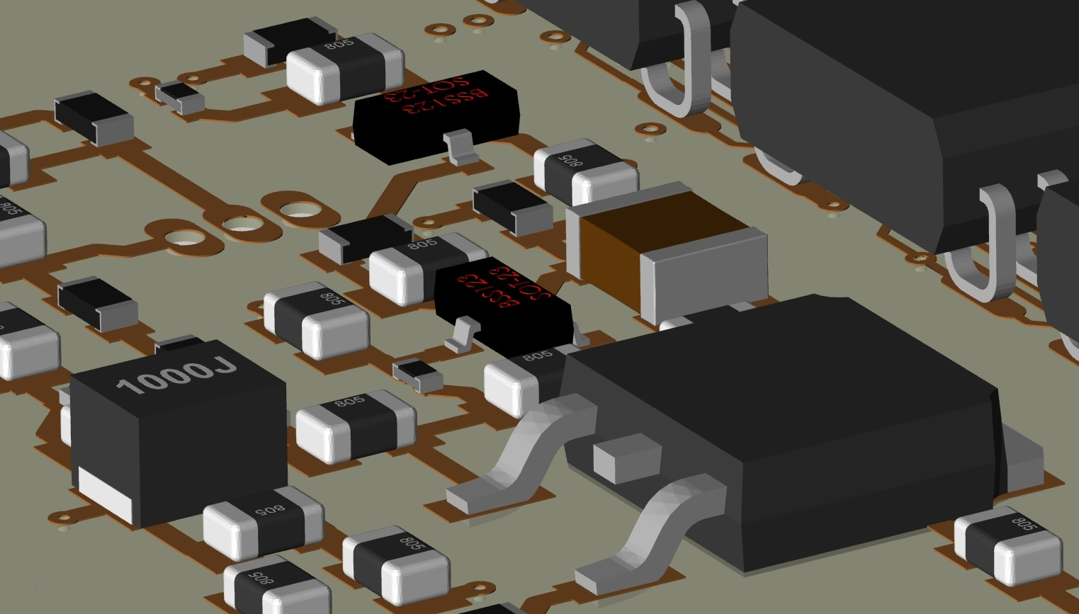 Screenshot of a 3D layout in Cadence Allegro showing PCB components