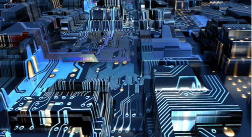 3D illustration of a circuit board resembling a city