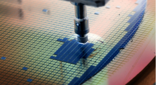 Silicon wafer in die-attach machine in semiconductor manufacturing