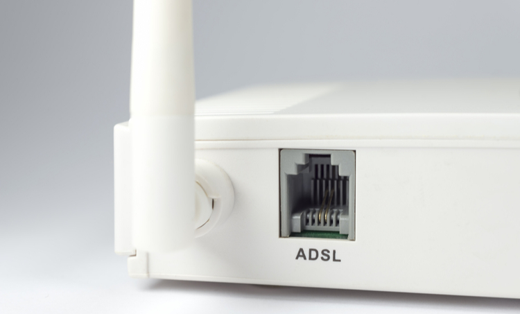 ADSL port on a transceiver for internet