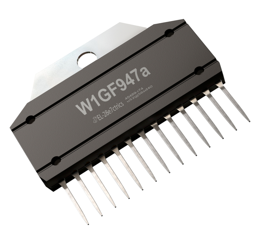 Close-up of CMOS inverter electronic component