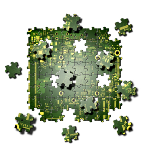 circuit in the form of a jigsaw puzzle