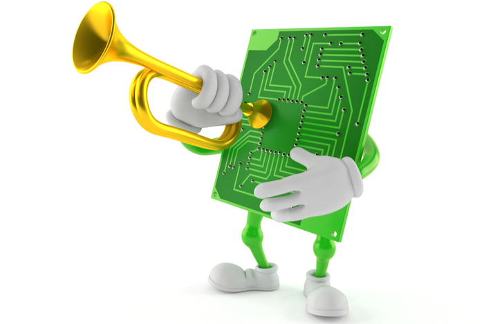 Funny image of a cartoon circuit board playing a bugle