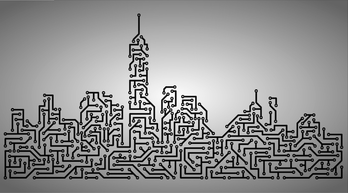 Image of the New York City skyline rendered as PCB trace routing