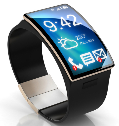 A smartwatch with a large convex digital display