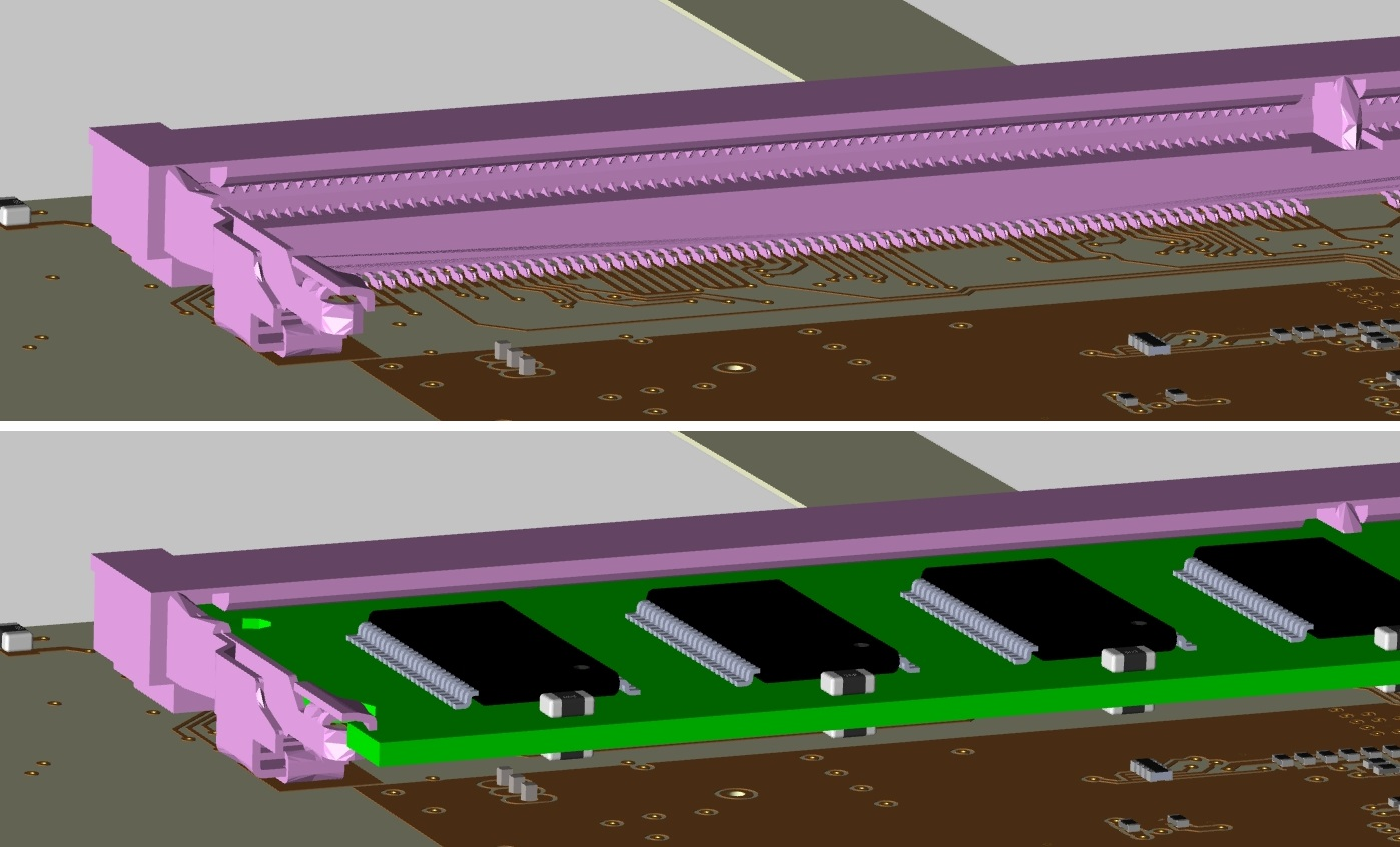 Screenshot of 3D layout in Cadence Allegro showing a design with and without a DIMM