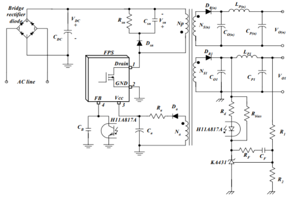A flyback power supply diagram