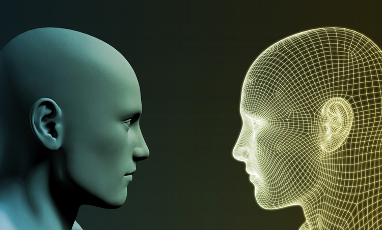 Two 3-D heads analyzing each other