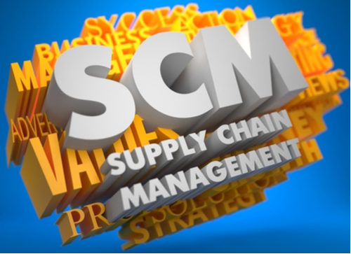 3D graphic of the words Supply Chain Managem