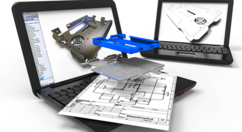 Black laptop computer showing a 3D rendering of product enclosure in CAD program