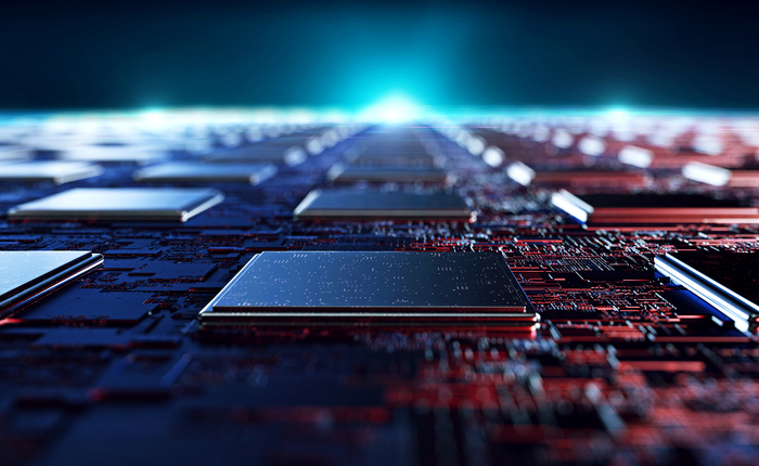 Futuristic rendition of a printed circuit board