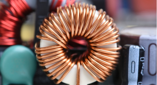 Inductor copper coil on the circuit board