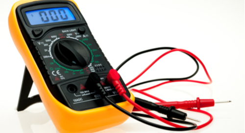 a digital multimeter with attached probes