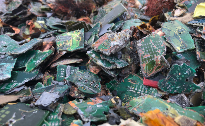 Pile of shredded circuit boards.