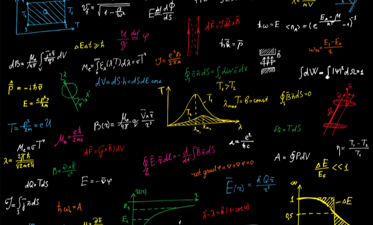 Colorful physical formulas over black background