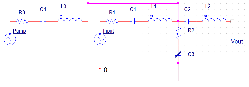 Parametric amplifier circuit in PSpice