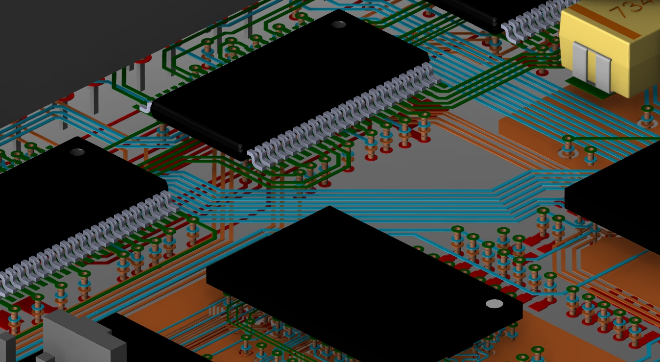 3D layout showing trace routing beneath the top side components of a PCB
