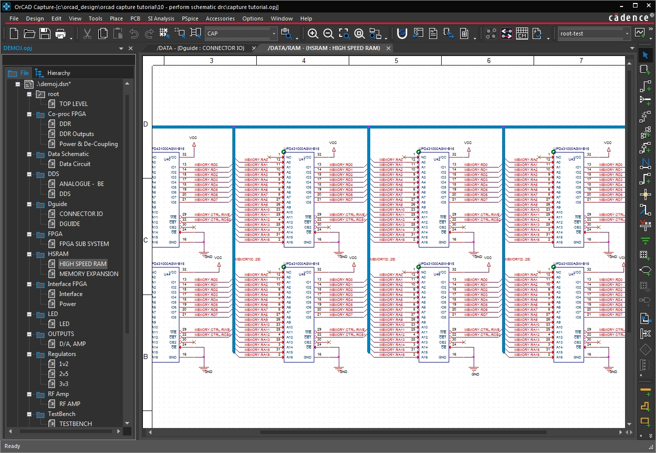 A schematic sheet in OrCAD Capture