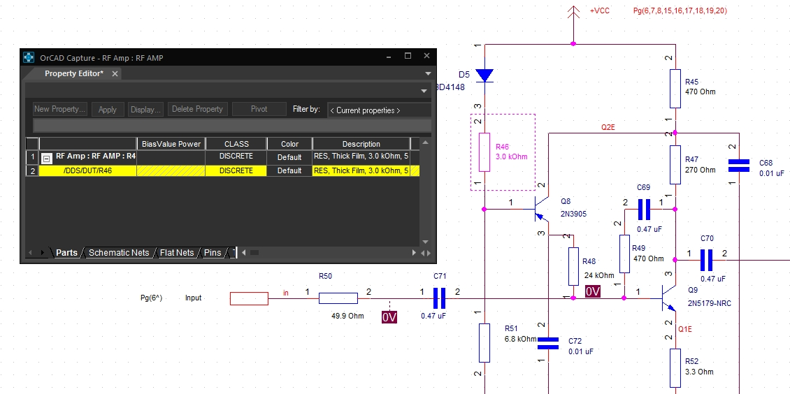 The schematic property editor of OrCAD Capture