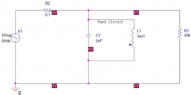 RLC parallel resonance circuit filter schematic example