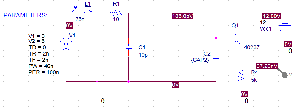 Parasitic coupling capacitance in PSpice schematic