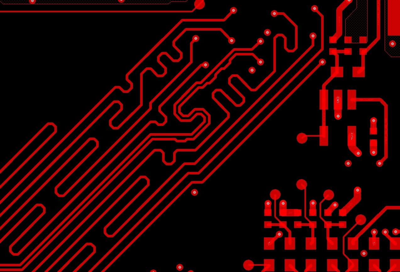 Serpentine routing patterns in a PCB design