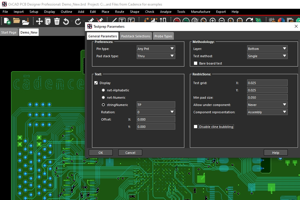 The Testprep Parameters menu in OrCAD PCB Designer