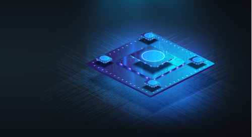 Microprocessor chip in futuristic rendering