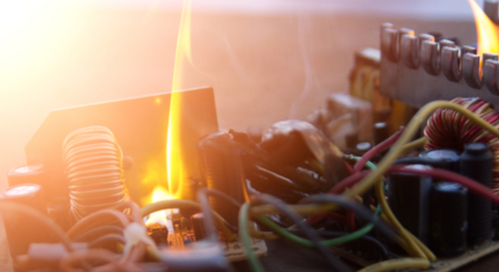 A fire on an AC PCB