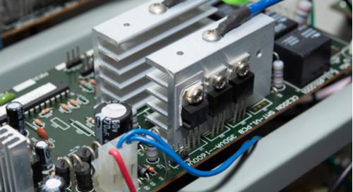 32-bit microcontroller power supply with large heatsinks