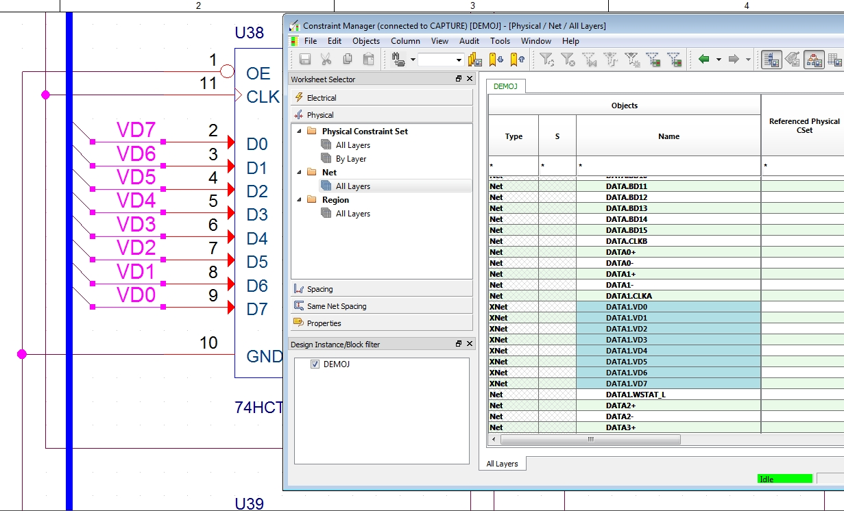 Assigning schematic nets to net classes in Allegro Capture