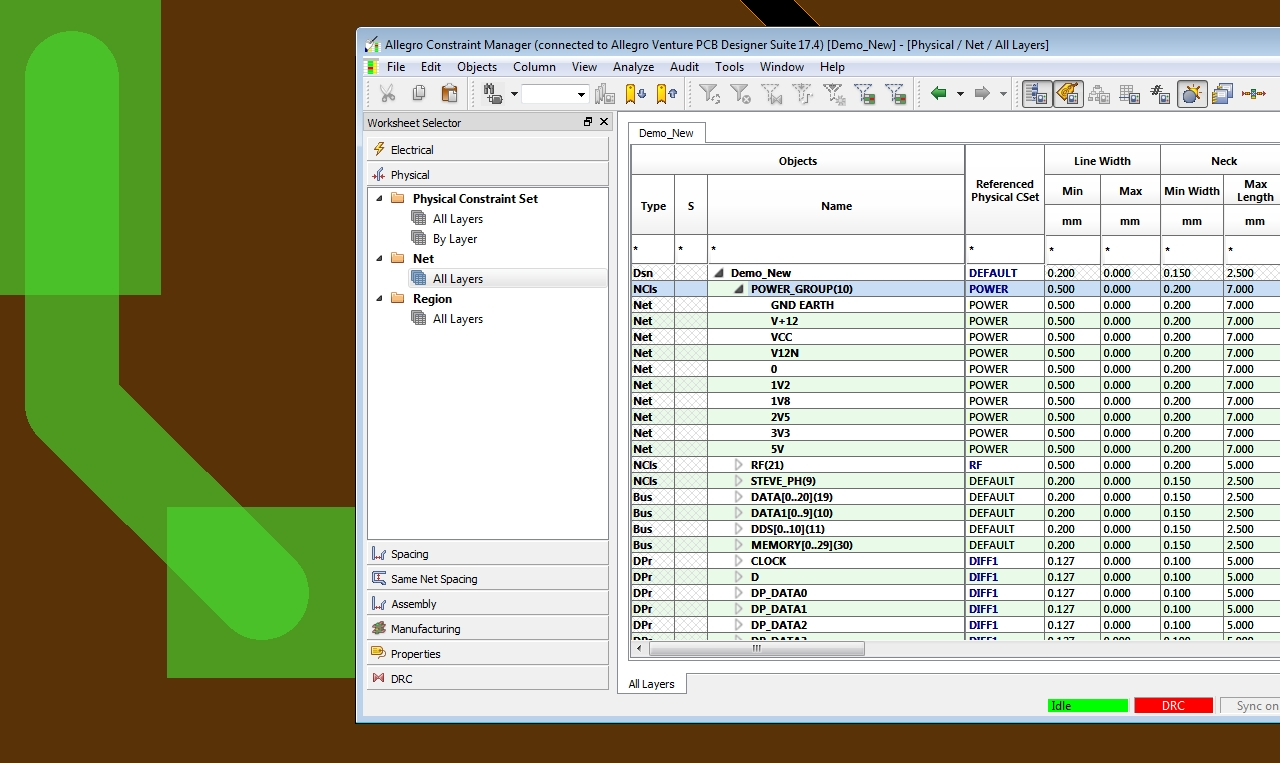Allegro PCB Designer's constraint manager setting up routing widths