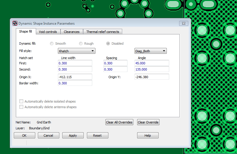 The Shape Fill Parameters menu in Allegro PCB Designer