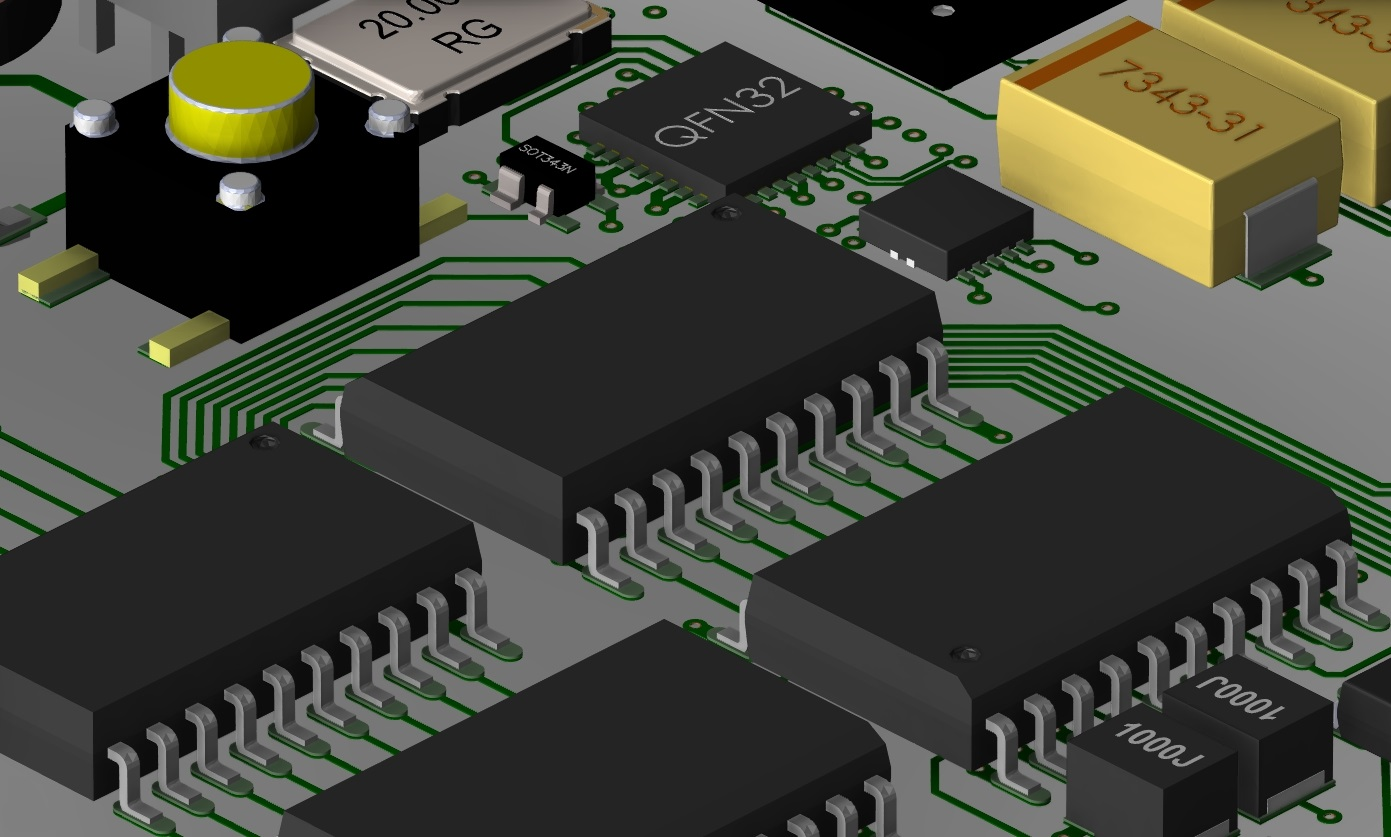 Screenshot of a 3D PCB layout in Cadence Allegro PCB Designer