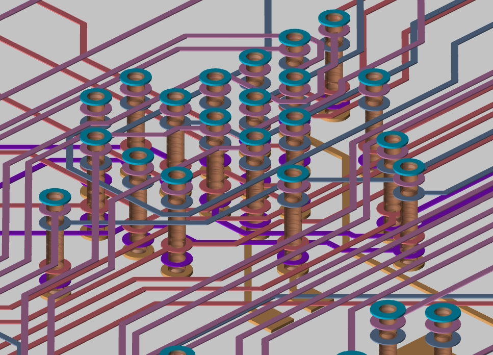 Screenshot of a 3D layout showing via stacks in Allegro PCB Designer