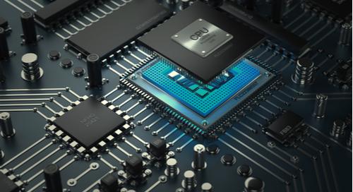 A microprocessor on a printed circuit board