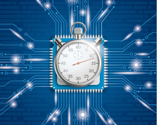 A concept image of a stopwatch on top of a microprocessor on a blue circuit board