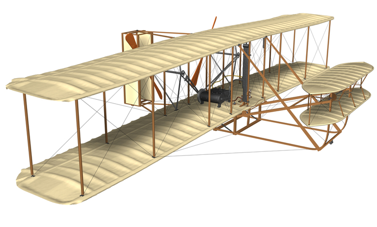 3D rendering of the Wright brother's flying machine for an analogy about PWM microcontrollers