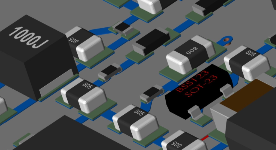 3D layout of some power components on a circuit board