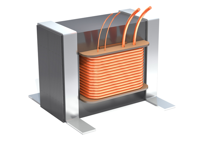 Cartoon illustration of a transformer to demonstrate mutual inductance