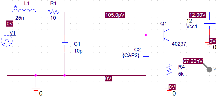 Circuit schematic in SPICE simulator for noise figure measurements