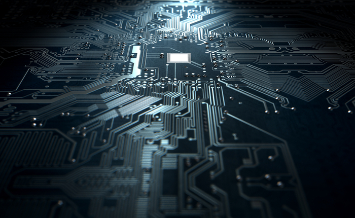 3D rendering of a circuit board with tight routing