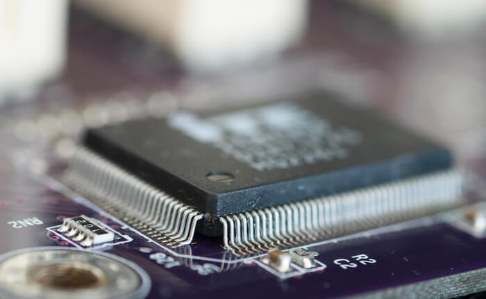microcontroller closeup on a printed circuit board