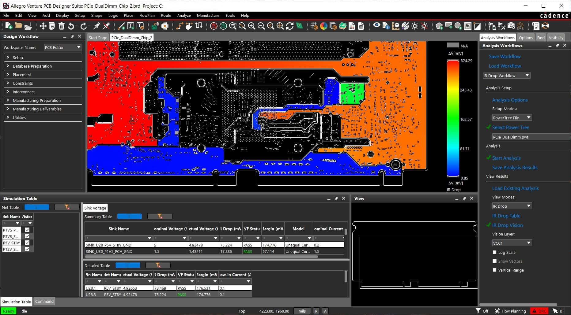 The IR Drop Vision in Cadence Allegro PCB design software