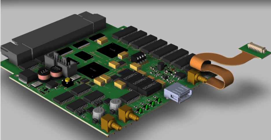 A digital rendering of a PCBA designed in a premium electronic design software
